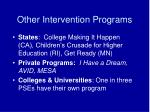 other intervention programs