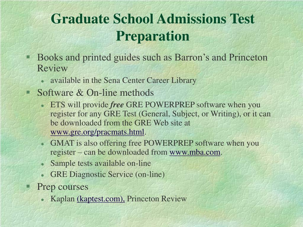 Graduate School Admissions Test Preparation