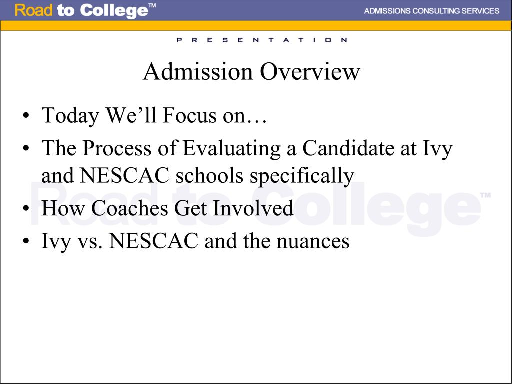 Admission Overview
