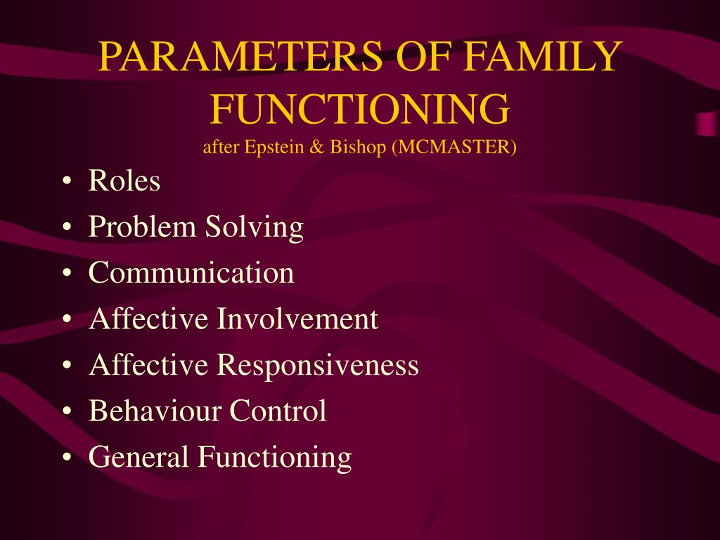 PARAMETERS OF FAMILY FUNCTIONING