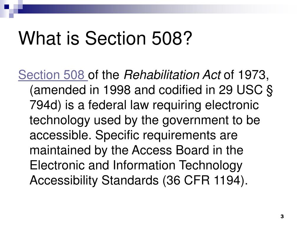 PPT - Creating Section 508 Compliant Documents ...