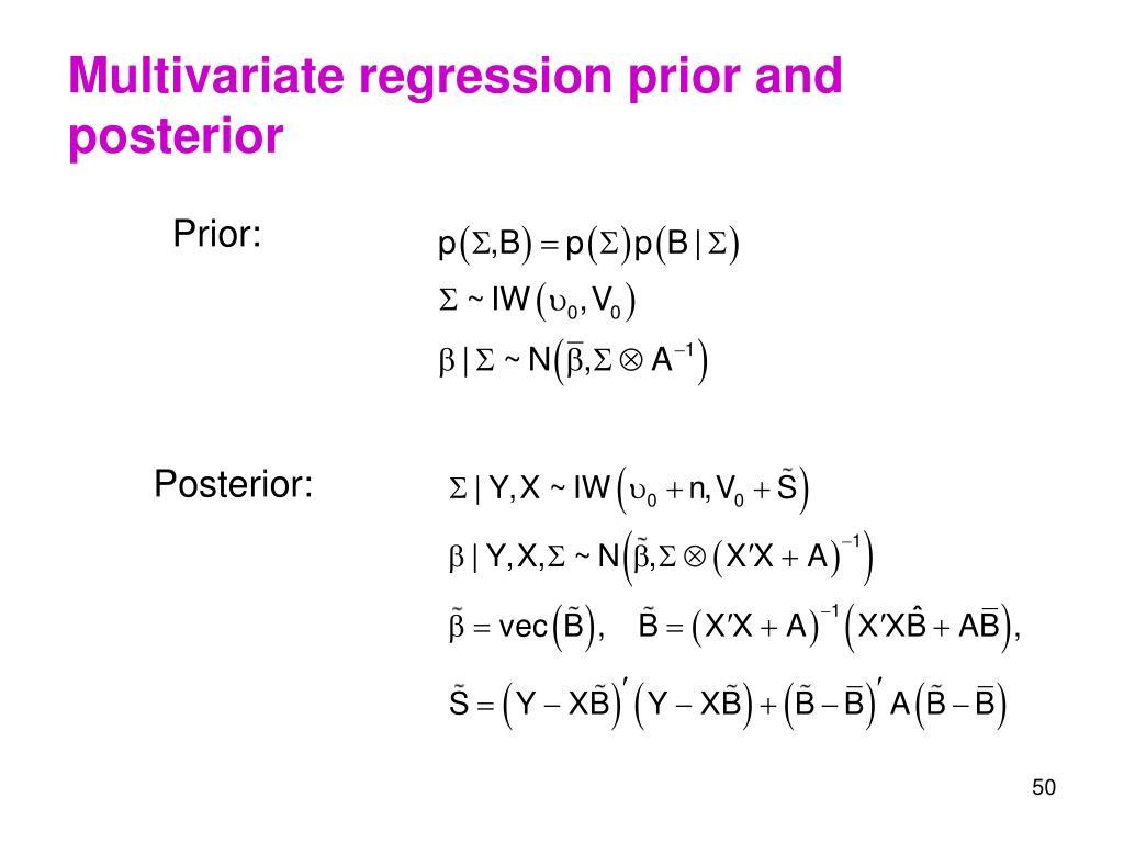 Multivariate regression prior and posterior
