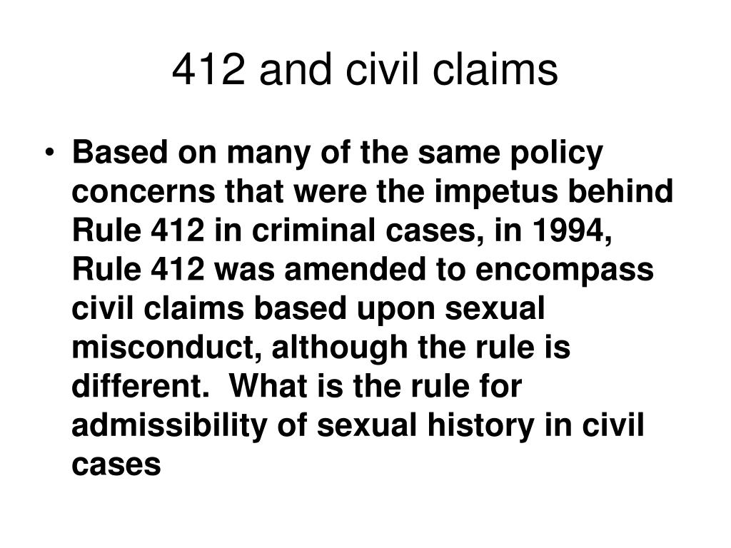 412 and civil claims