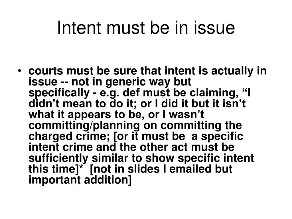 Intent must be in issue