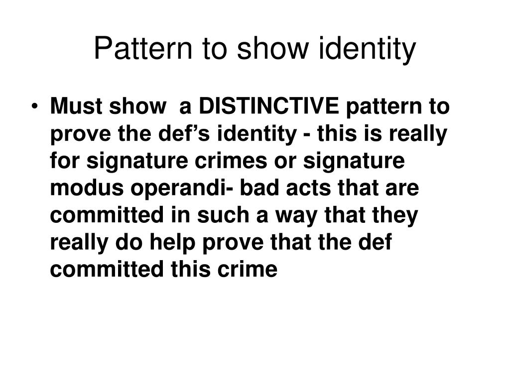 Pattern to show identity