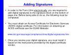 adding signatures