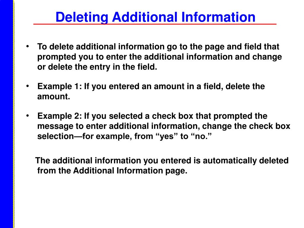 Deleting Additional Information