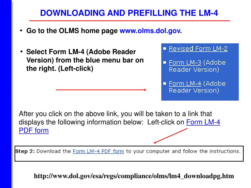 DOWNLOADING AND PREFILLING THE LM-4