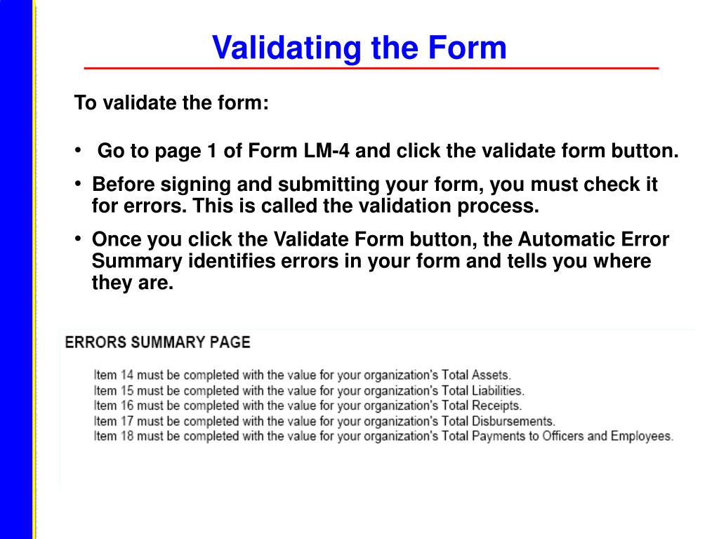 Validating the Form