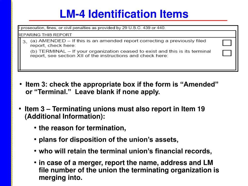 LM-4 Identification Items