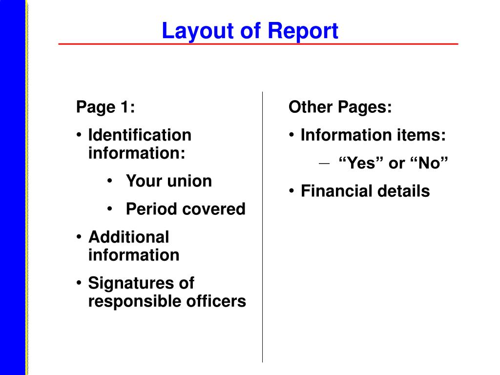 Layout of Report