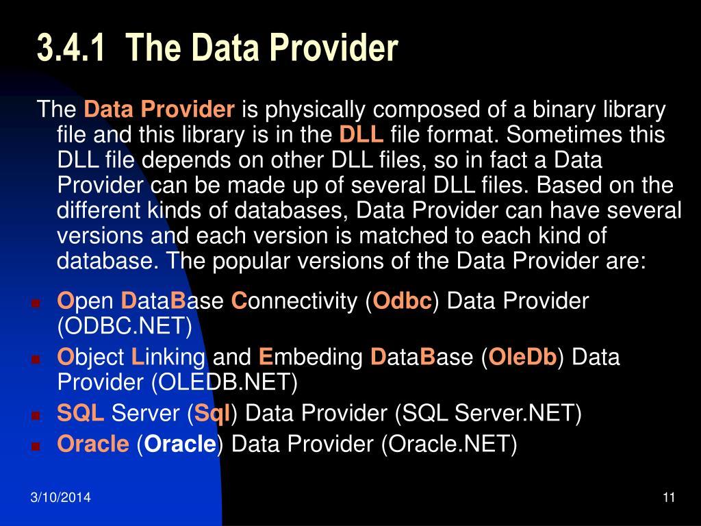 3.4.1  The Data Provider
