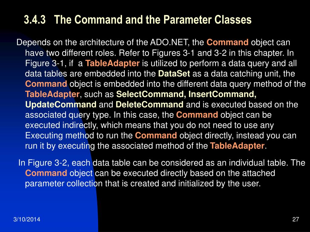 3.4.3   The Command and the Parameter Classes