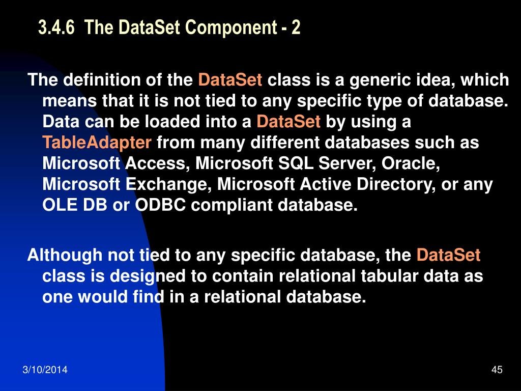 3.4.6  The DataSet Component - 2