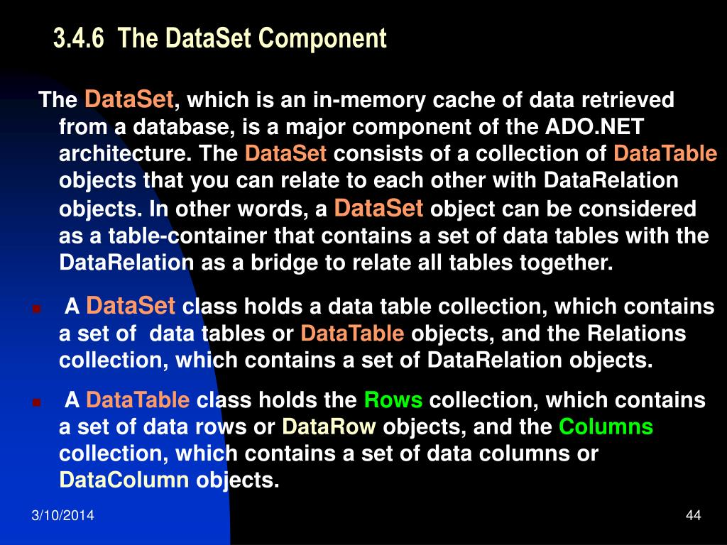 3.4.6  The DataSet Component