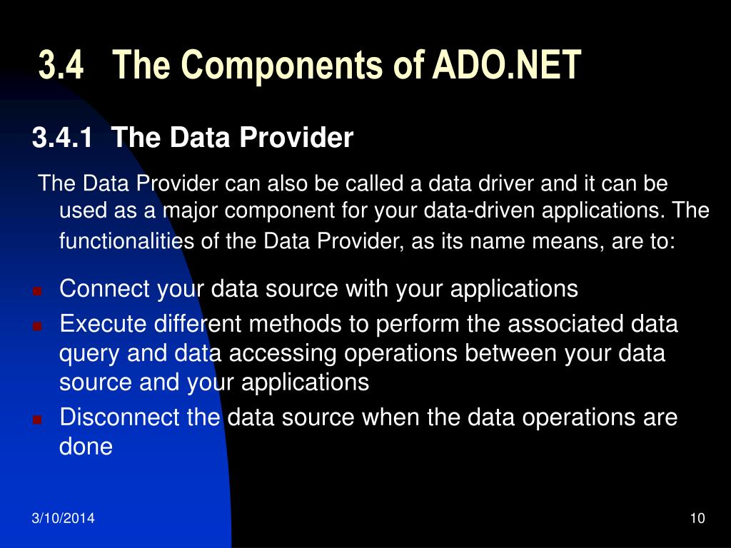 3.4   The Components of ADO.NET