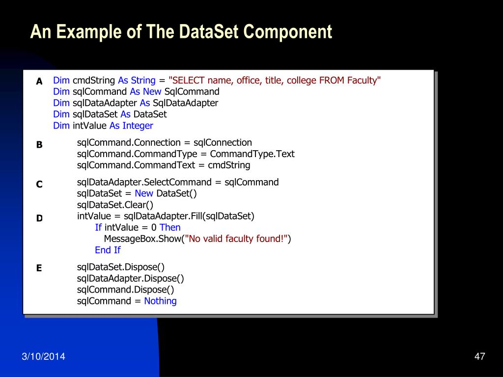An Example of The DataSet Component