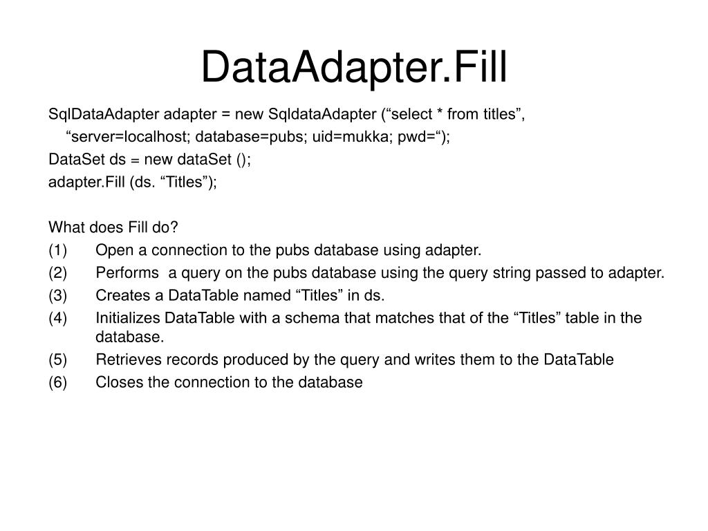 DataAdapter.Fill