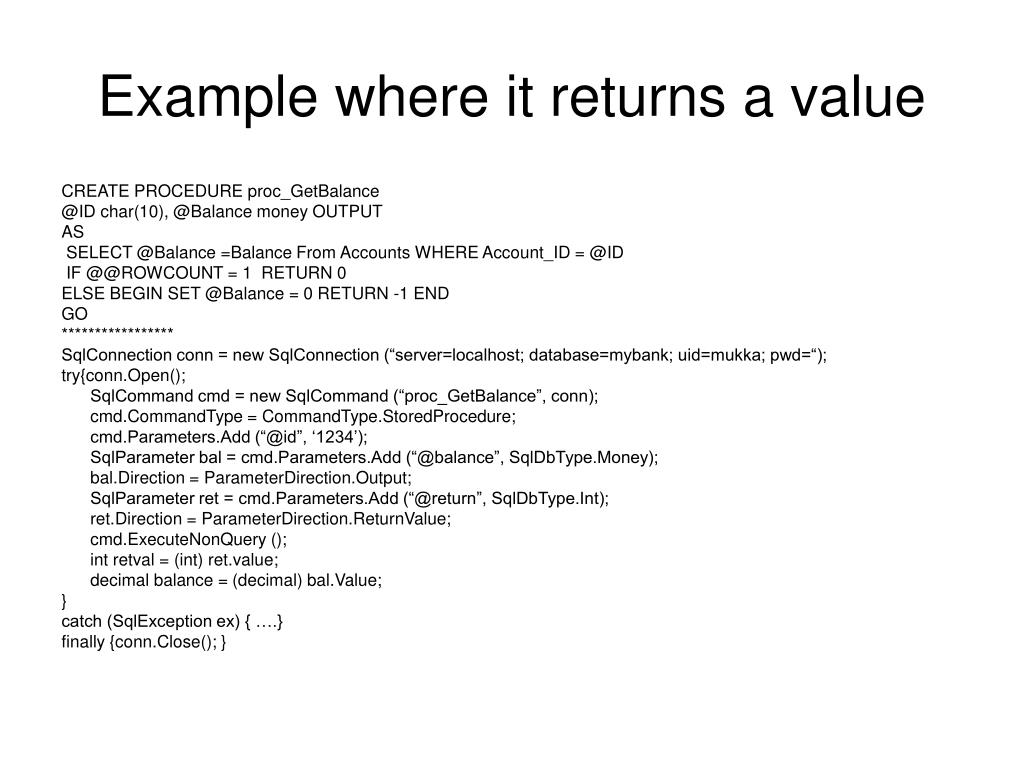 Example where it returns a value