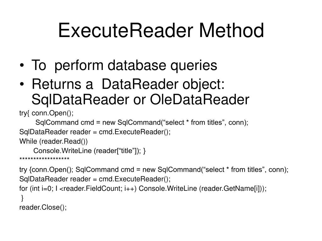 ExecuteReader Method