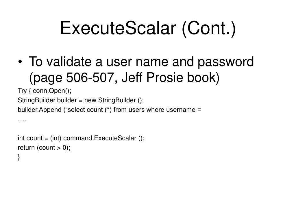 ExecuteScalar (Cont.)