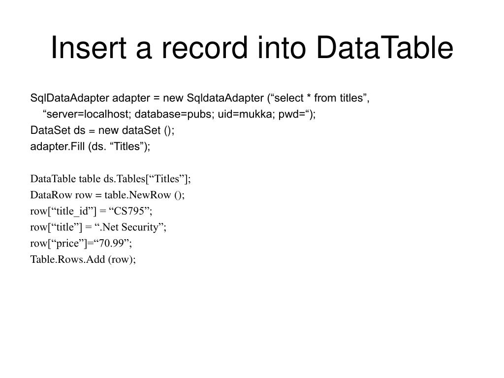 Insert a record into DataTable
