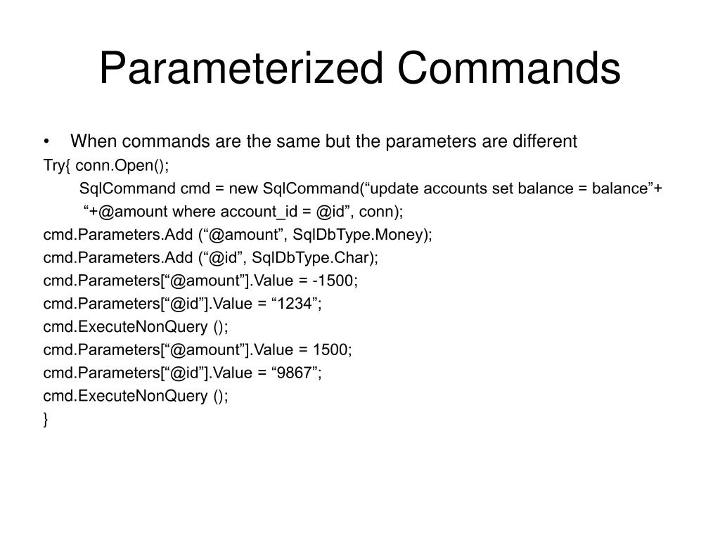 Parameterized Commands