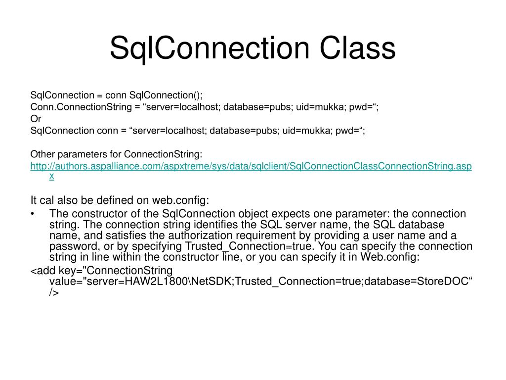 SqlConnection Class