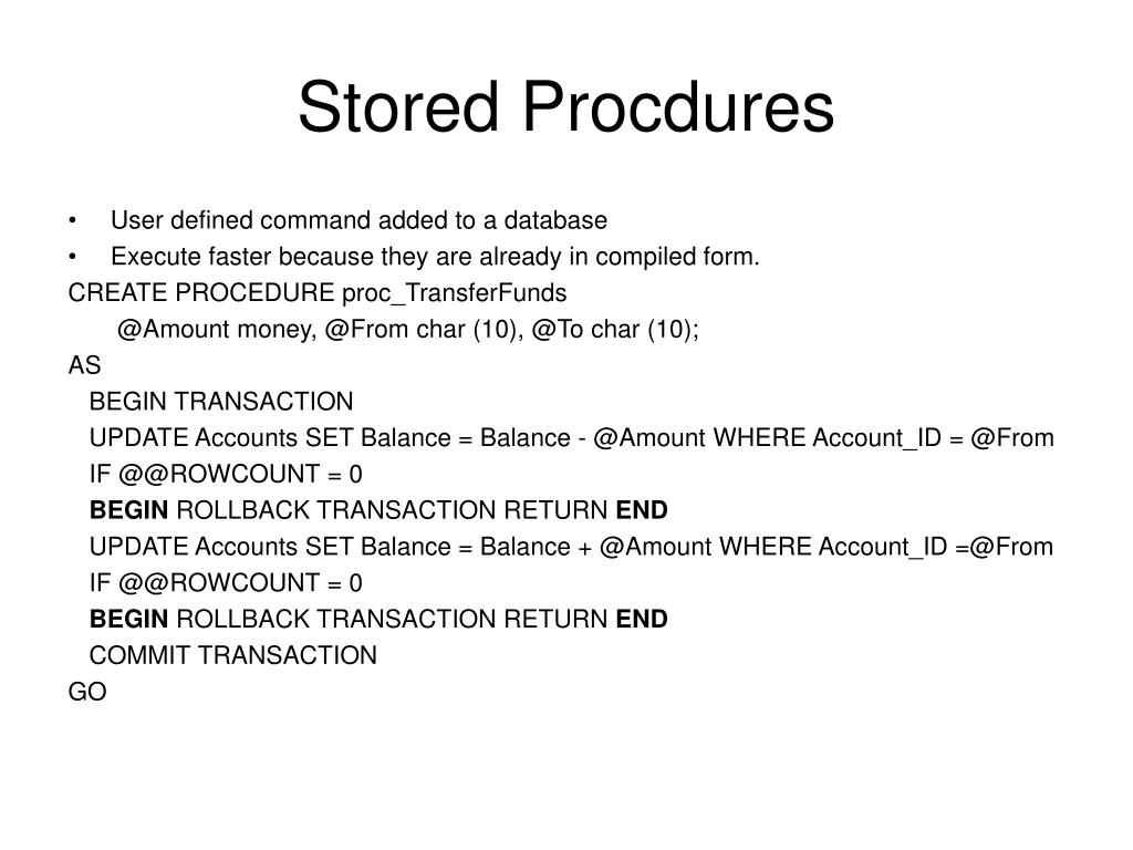 Stored Procdures