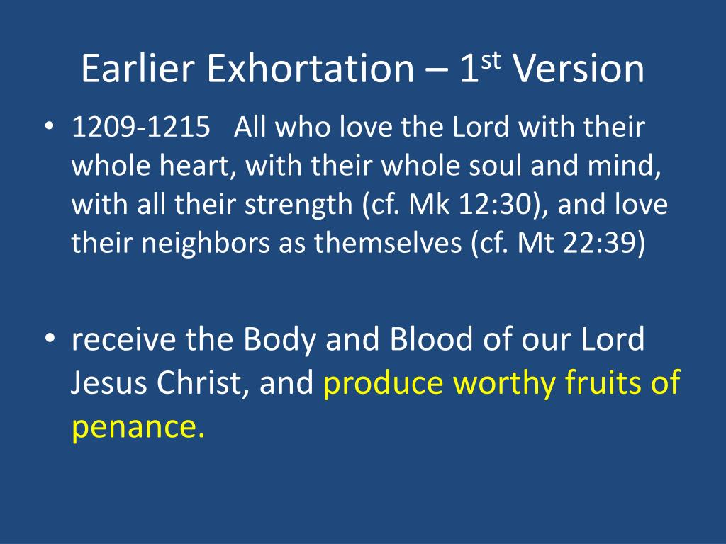 Earlier Exhortation – 1