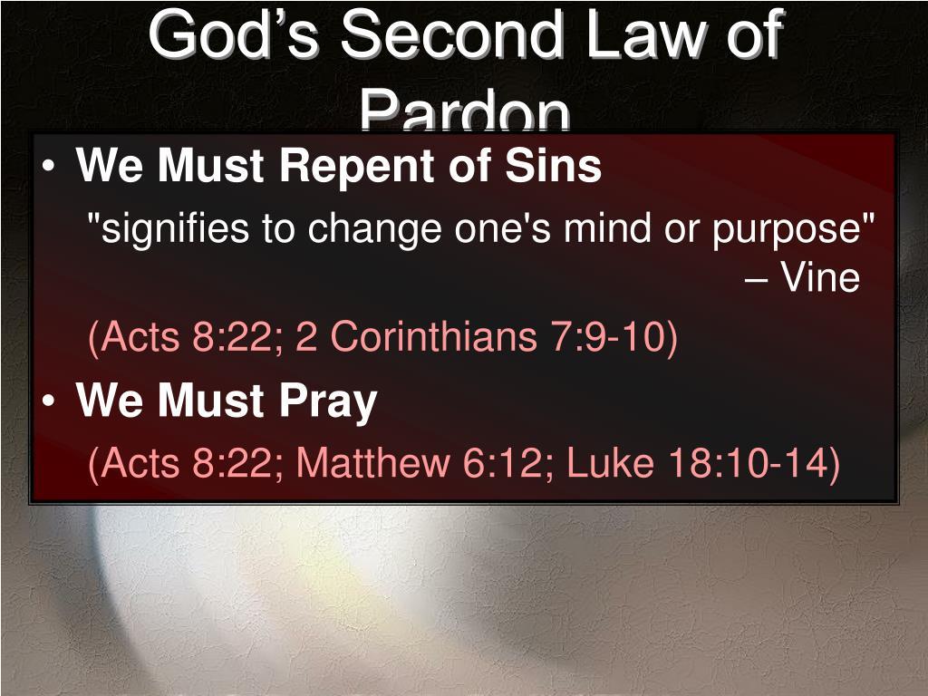 God's Second Law of Pardon
