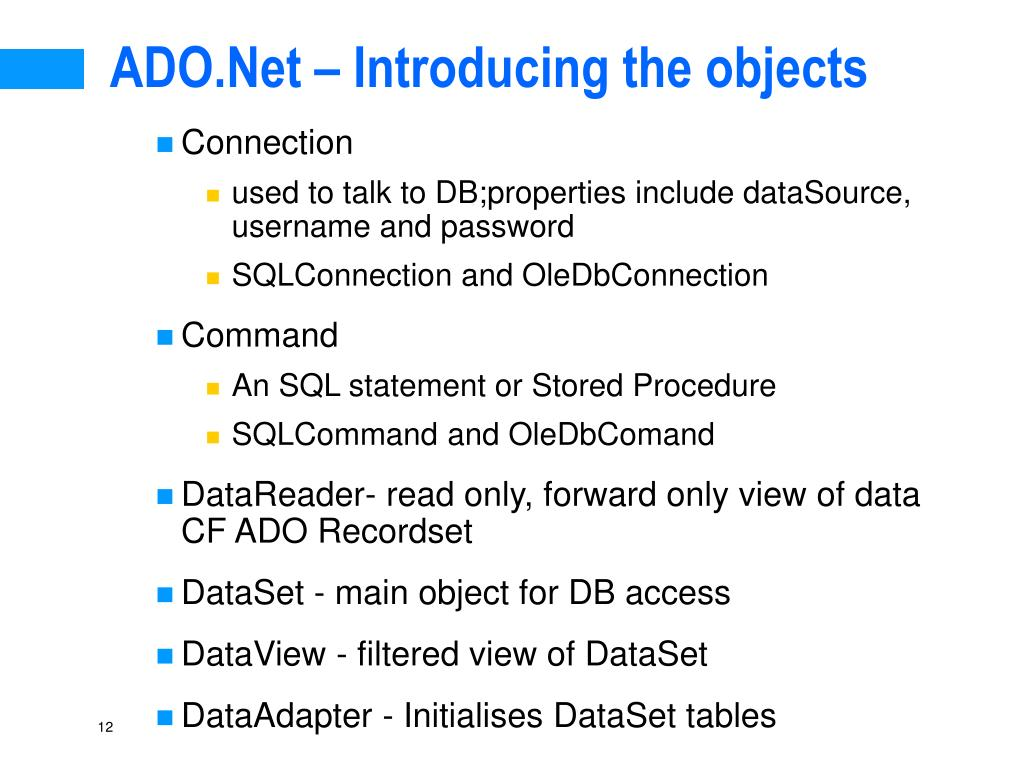 ADO.Net – Introducing the objects