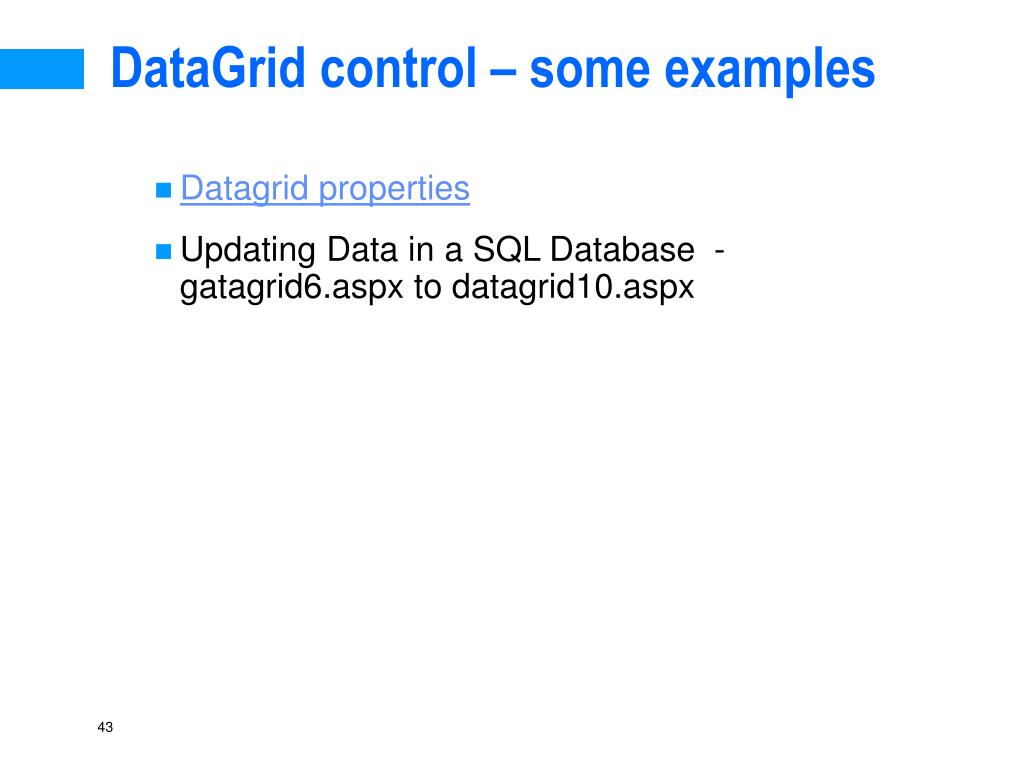 DataGrid control – some examples