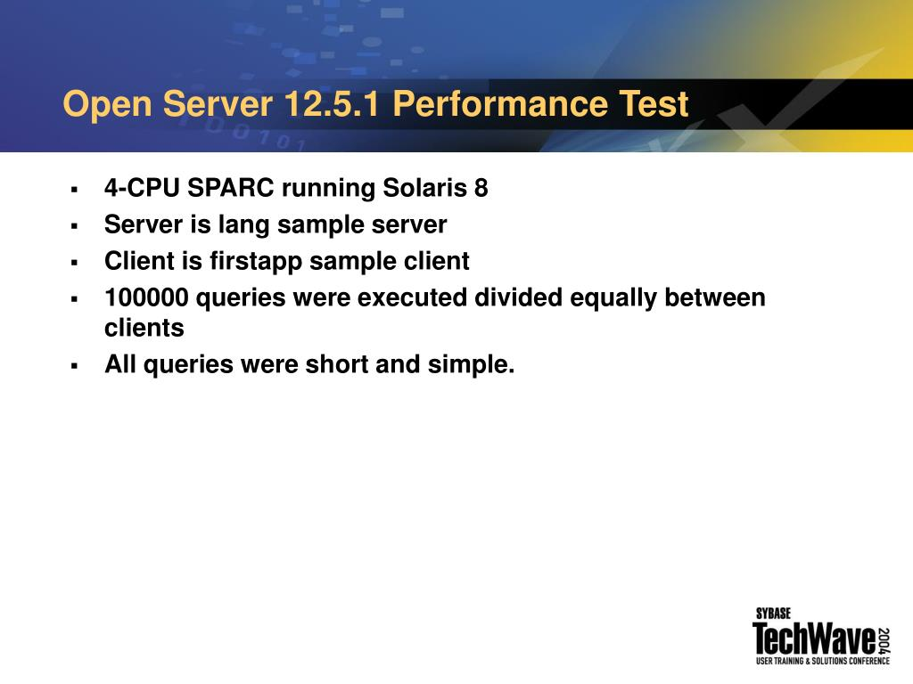Open Server 12.5.1 Performance Test