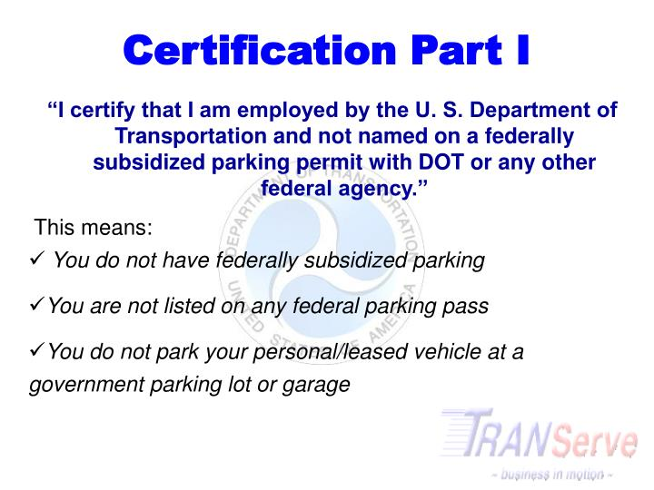 Certification Part I