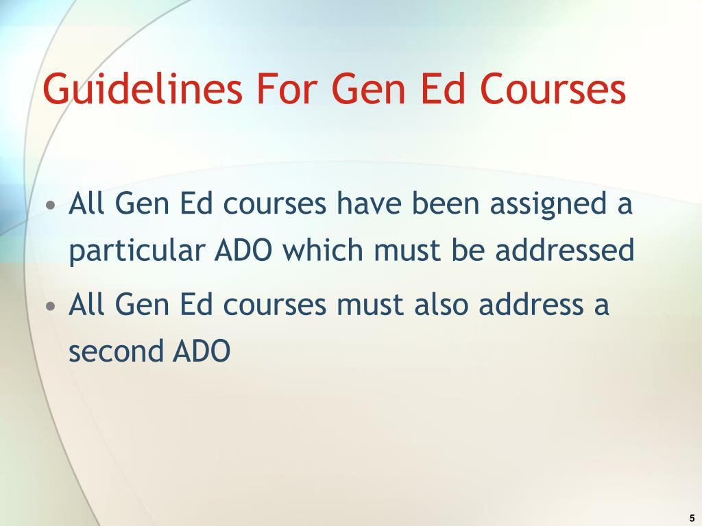 Guidelines For Gen Ed Courses