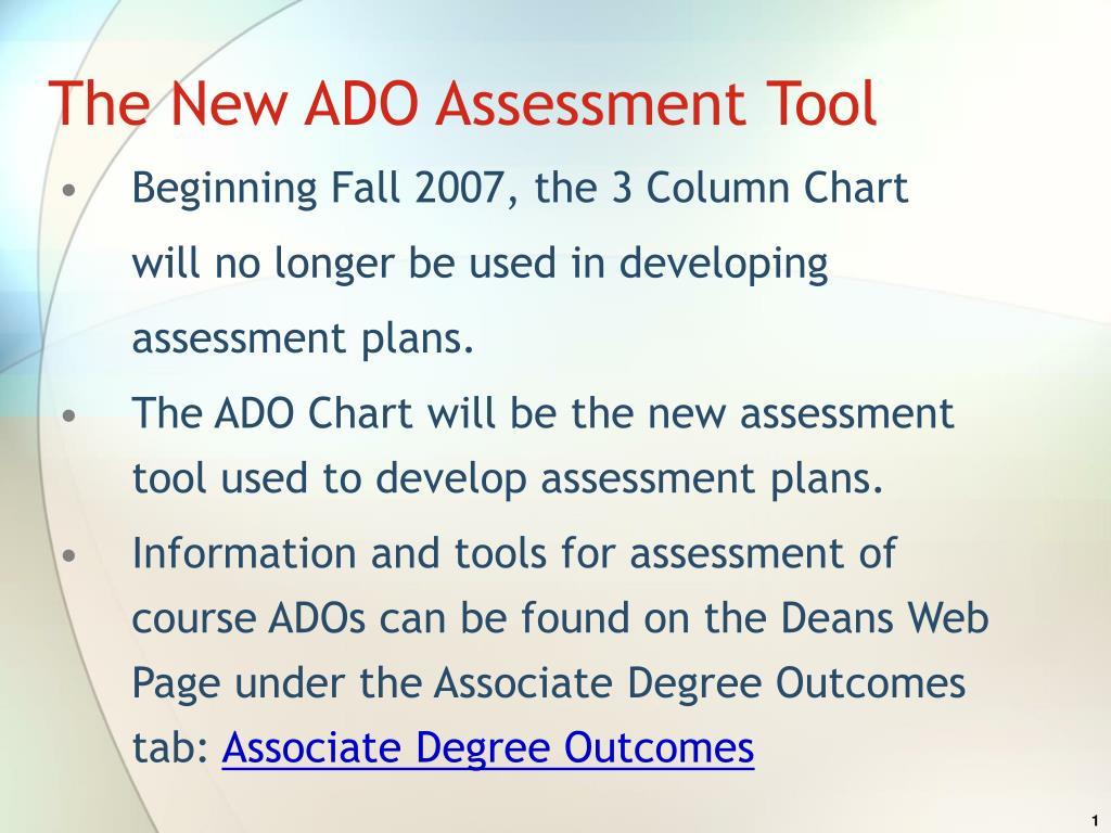 the new ado assessment tool