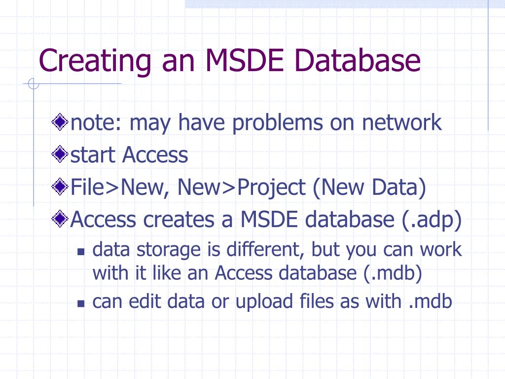 Creating an MSDE Database