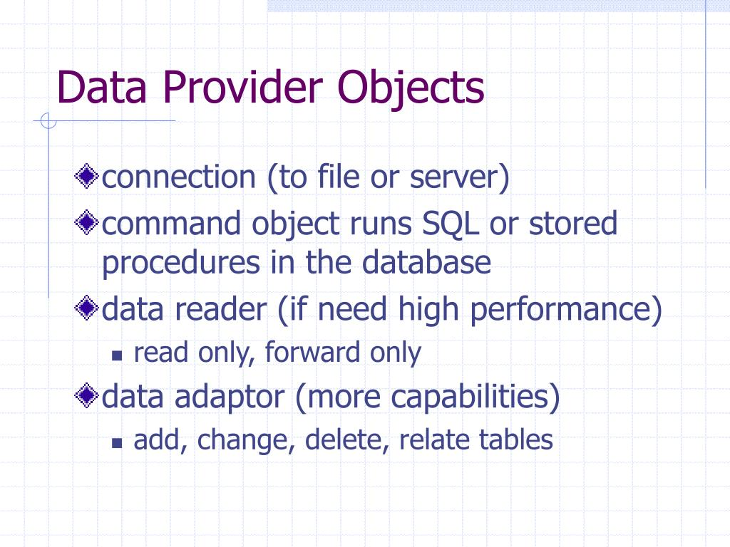 Data Provider Objects