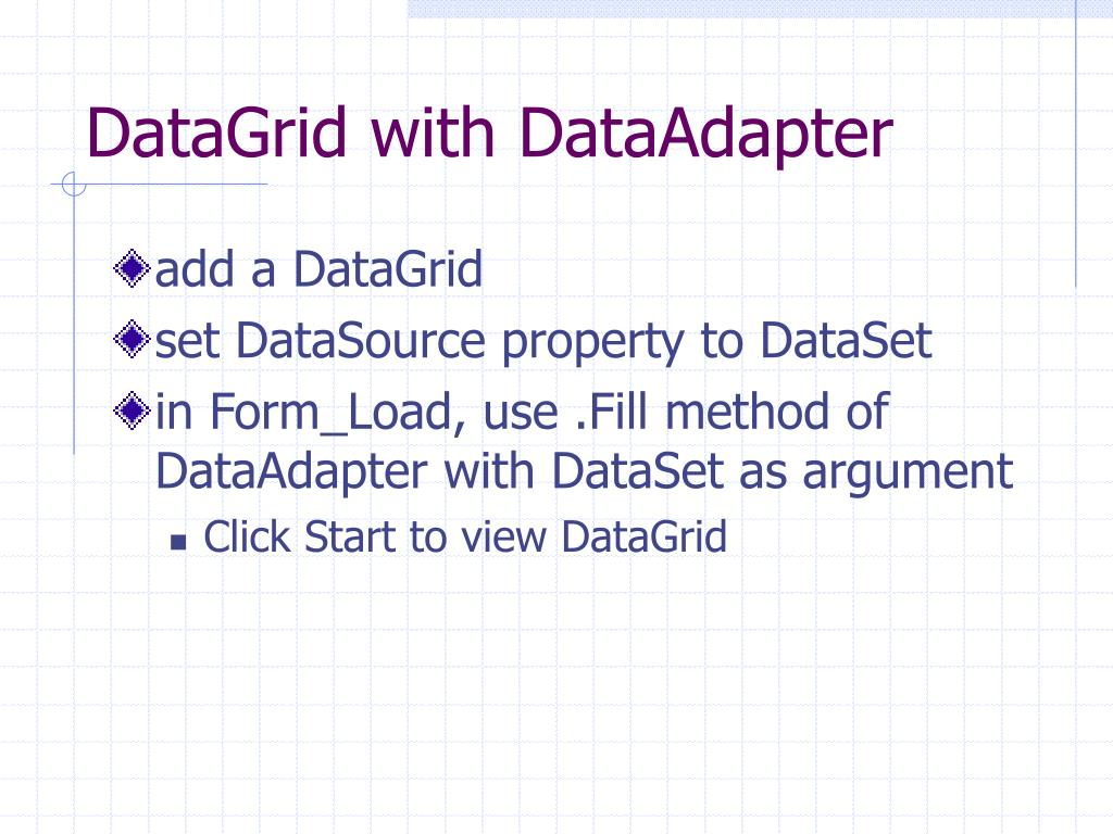 DataGrid with DataAdapter