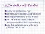 list combobox with dataset