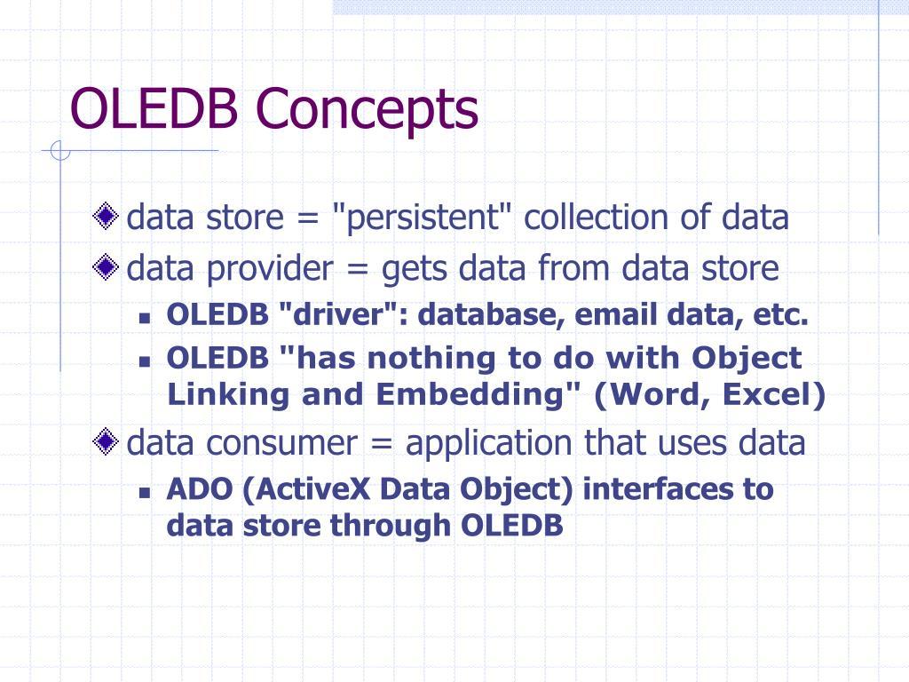 OLEDB Concepts