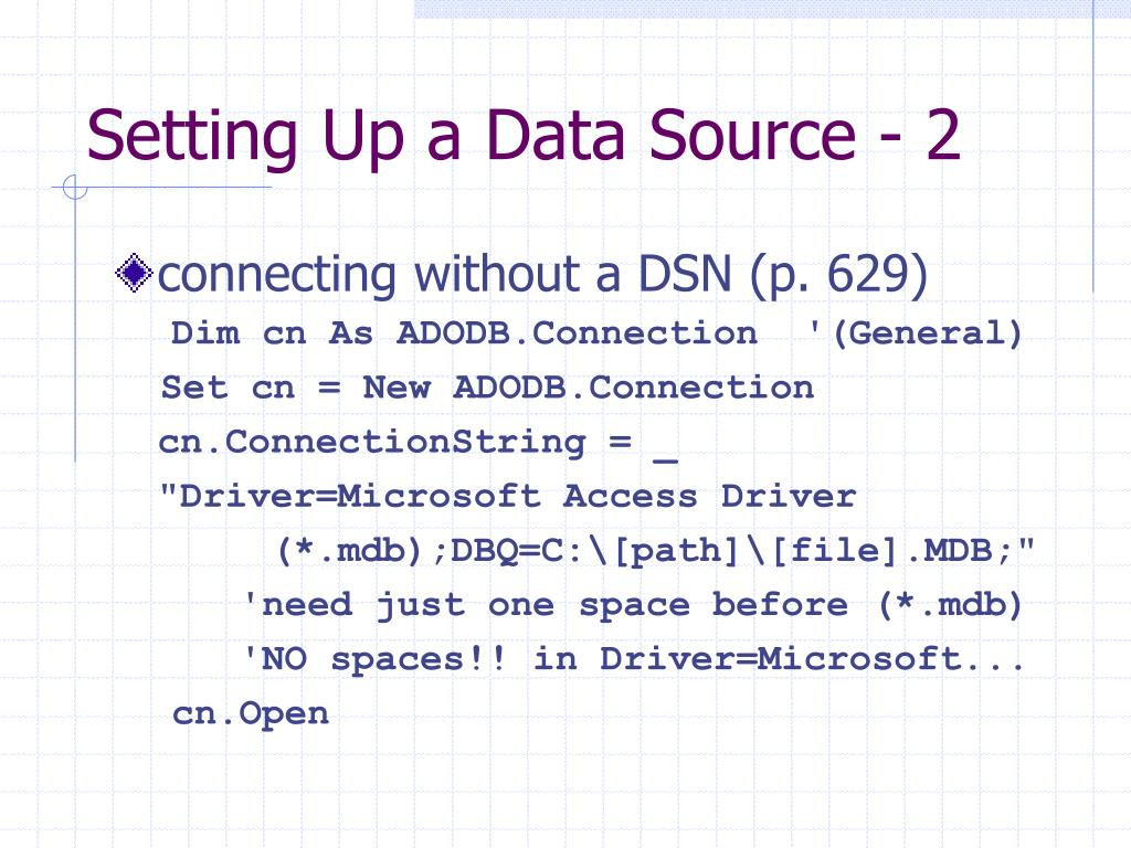 Setting Up a Data Source - 2