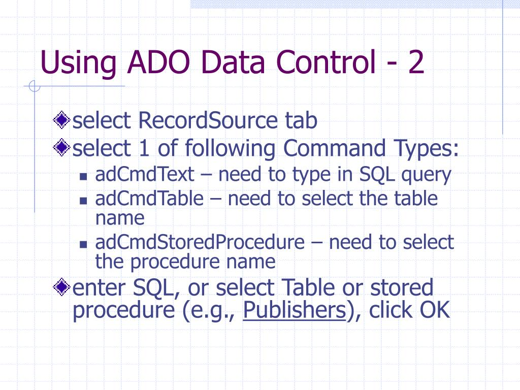 Using ADO Data Control - 2