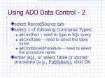using ado data control 2