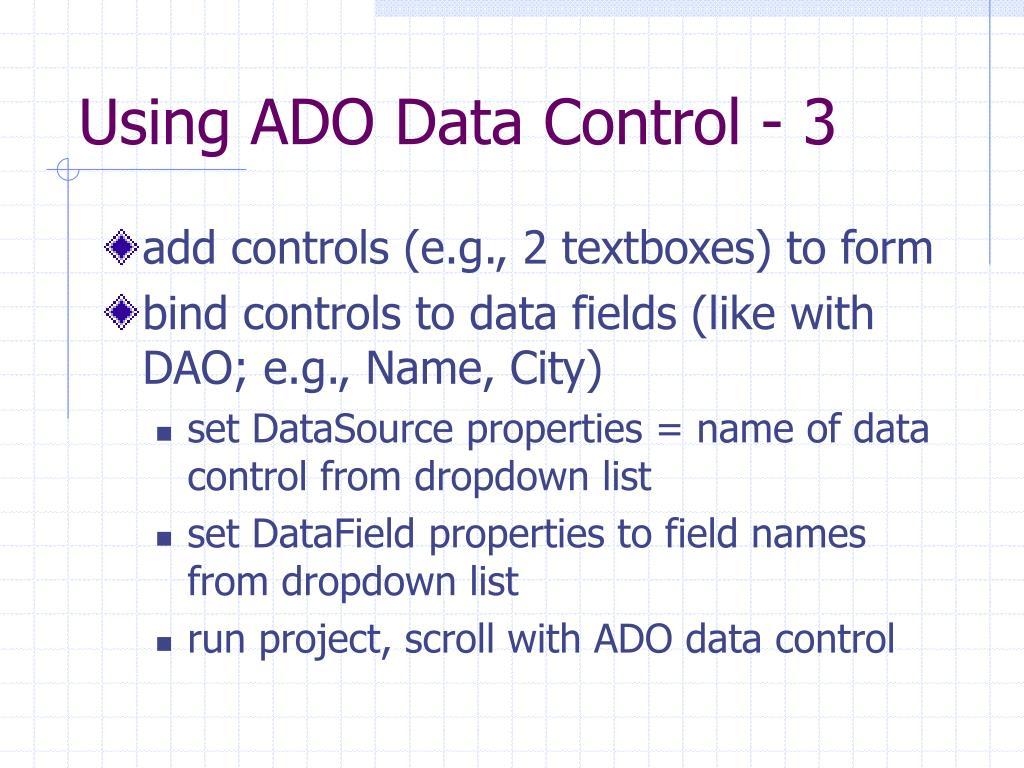Using ADO Data Control - 3