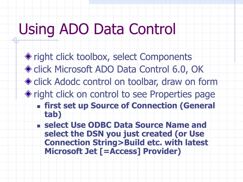 Using ADO Data Control