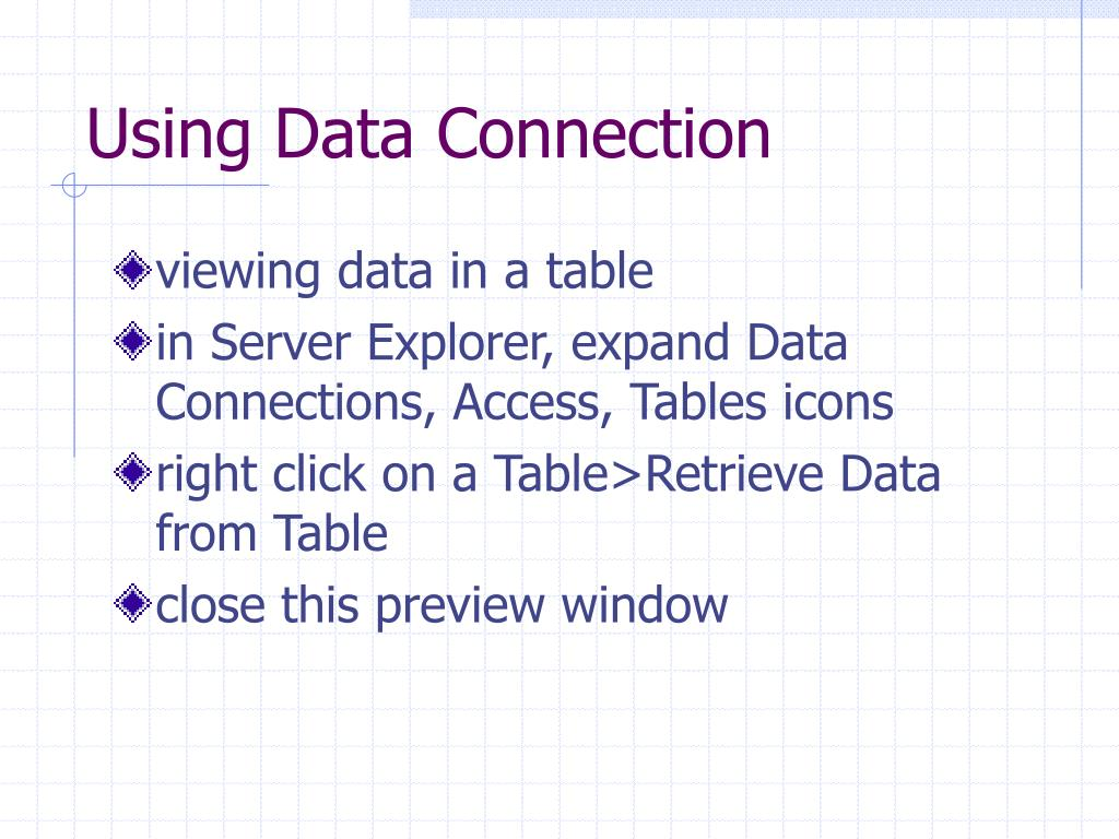 Using Data Connection