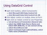 using datagrid control