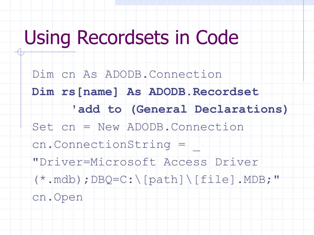 Using Recordsets in Code